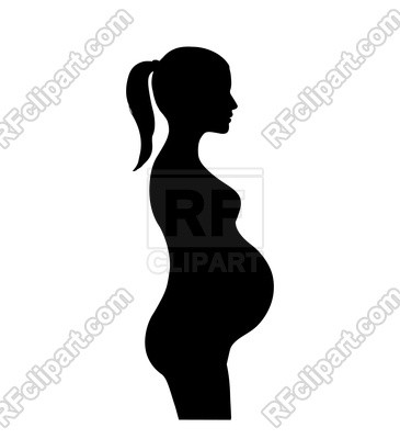 Pregnant woman silhouette Vector Image.