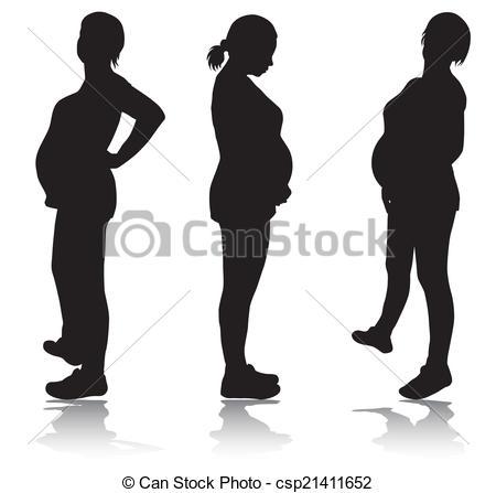 Pregnant woman silhouette.