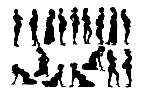 Woman Silhouette, Pregnant woman svg, pregnant girl svg, pregnant  silhouette, pregnant lady clipart 16 PNG SVG eps dxf Buy 2 Get 1 FREE.