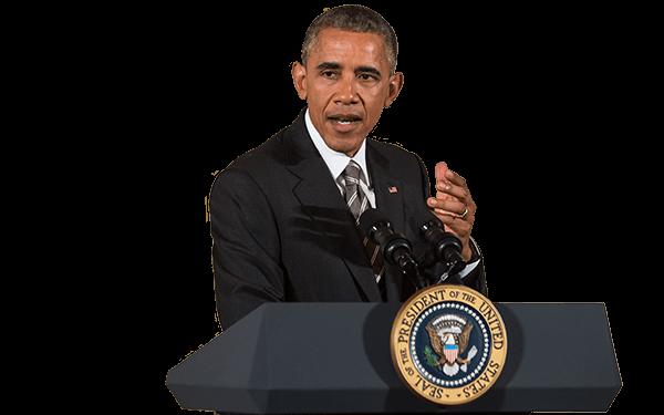 Speaking President Obama transparent PNG.