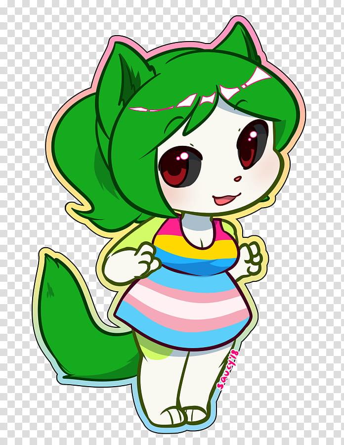 Midori Pride Month Chibi transparent background PNG clipart.