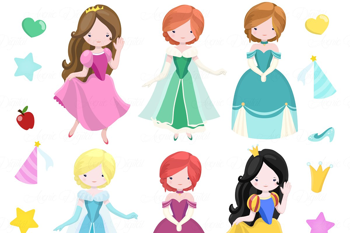 Fairytale Princess Clip art + Vector.