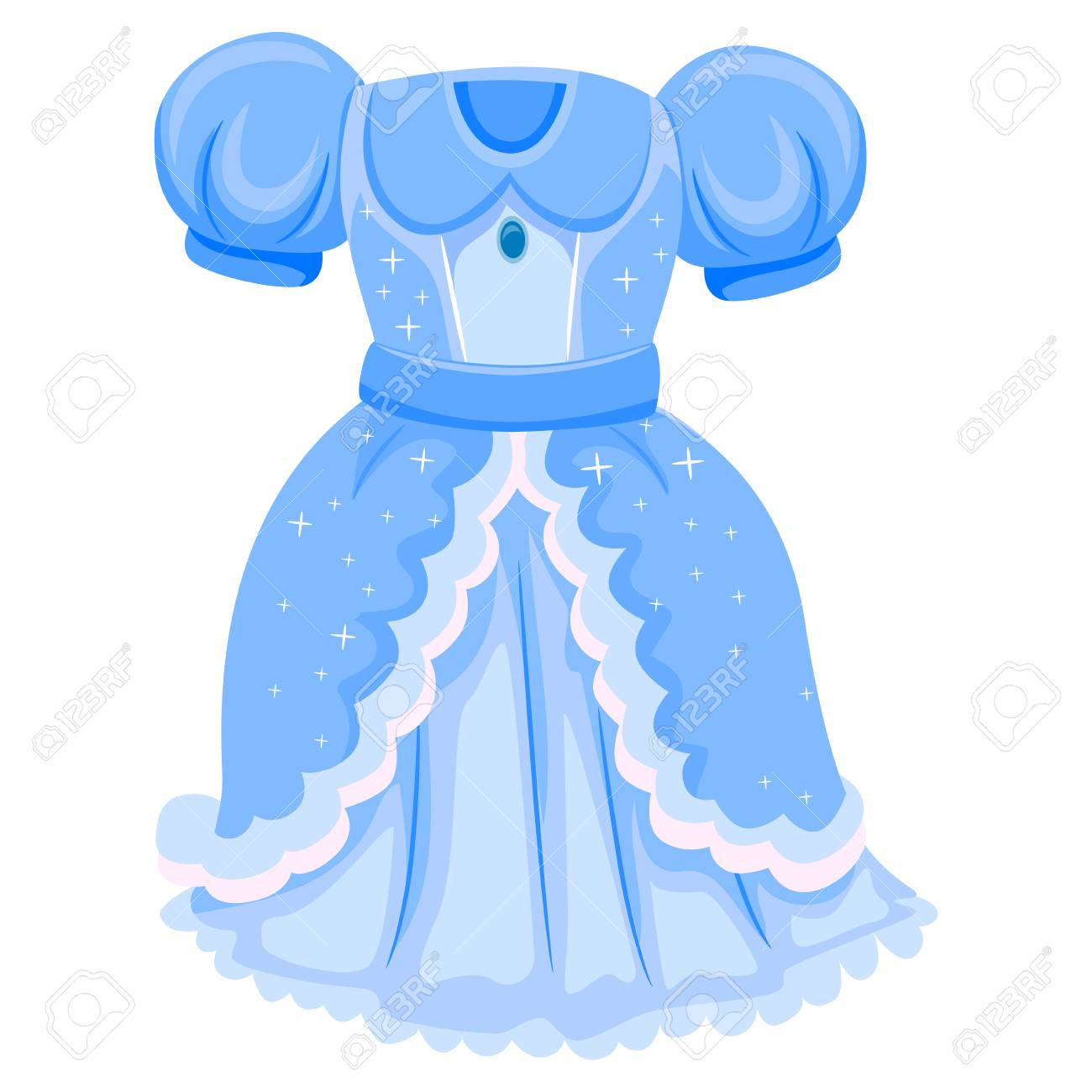Vector Illustration of Blue Dress for Princess.