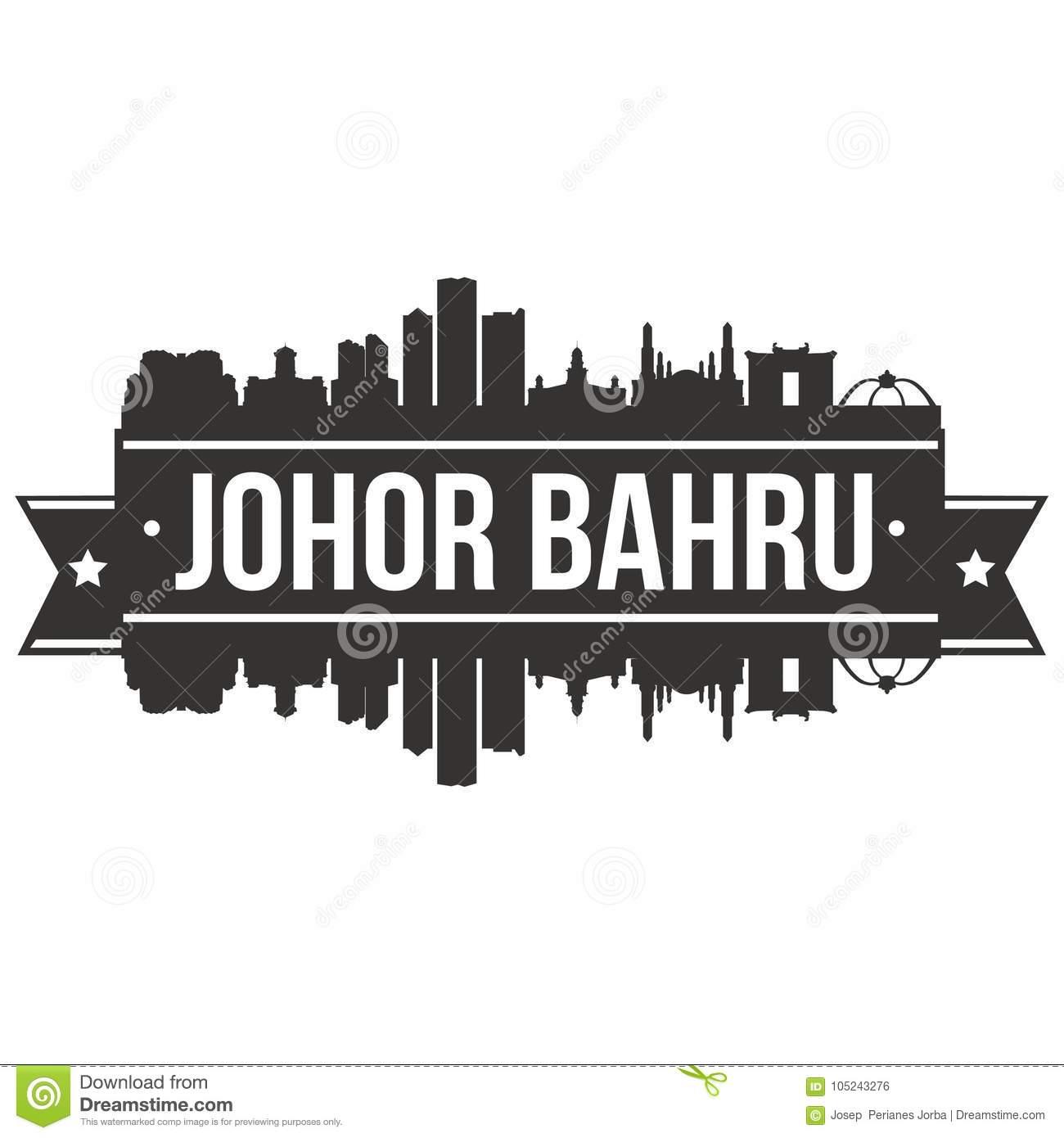 Johor Bahru Malaysia Asia Icon Vector Art Design Skyline Flat City.