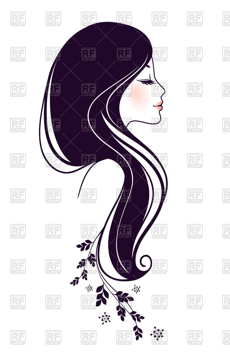 Outline of beautiful woman profile Vector Image #59235.