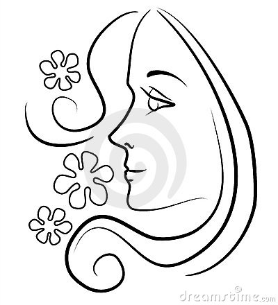 Woman With Long Hair Outline Stock Photo.