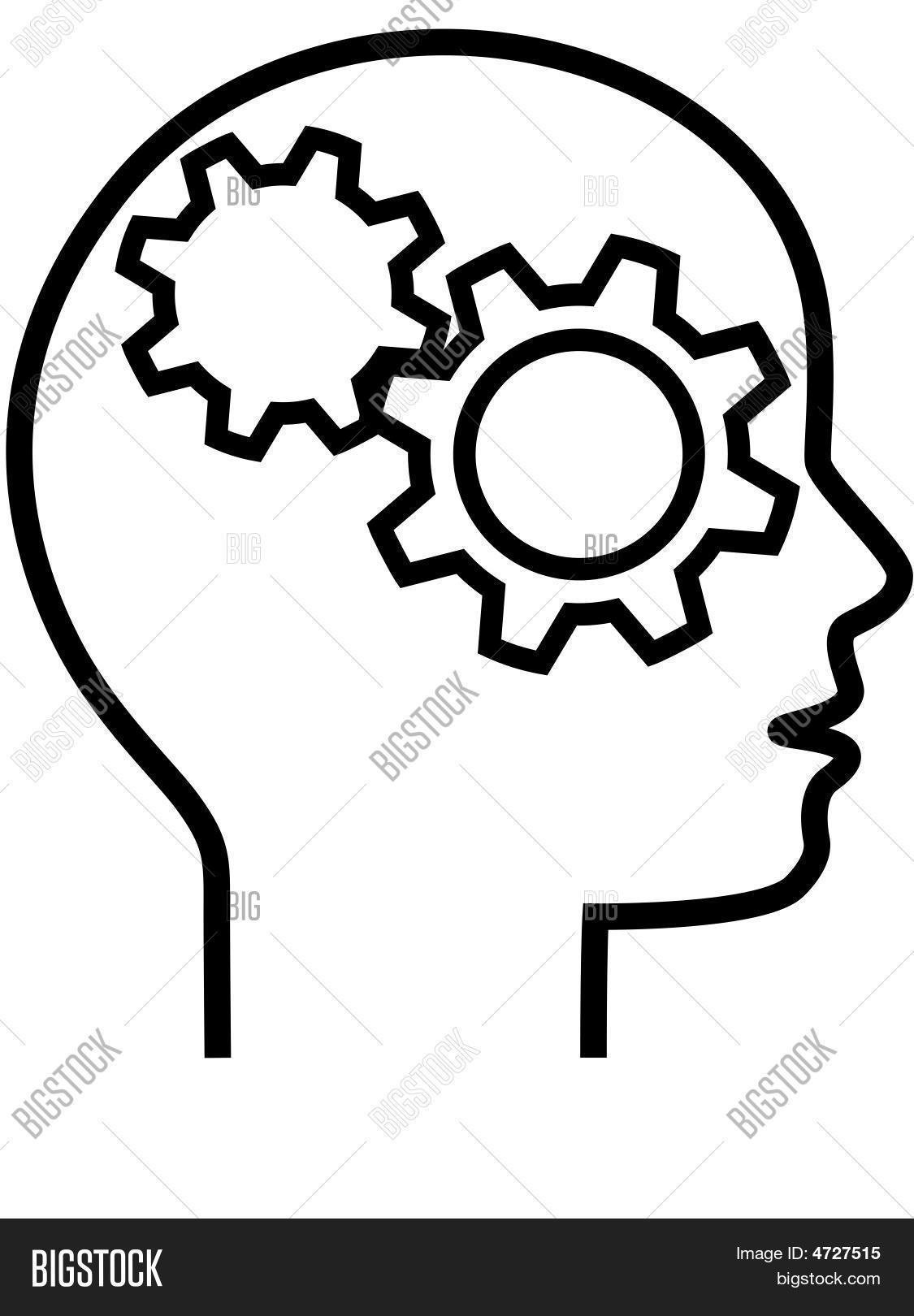 Profile Of Gear Head Brain Thinker Outline Stock Vector & Stock.