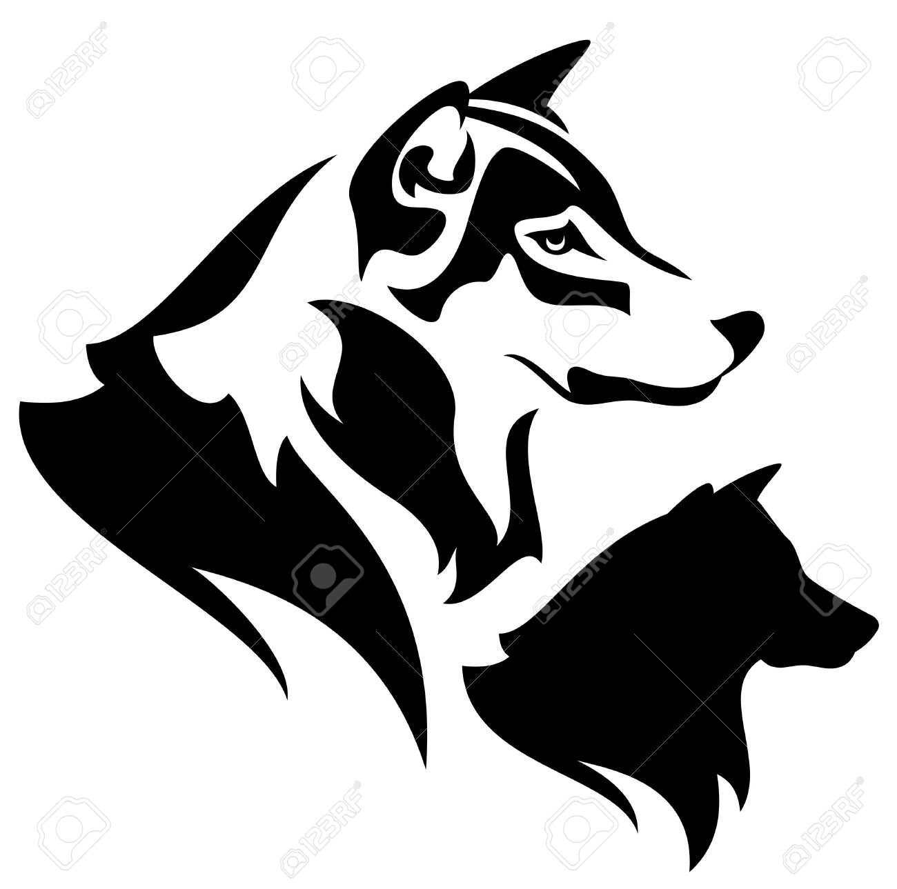 Wolf Profile Outline And Silhouette.