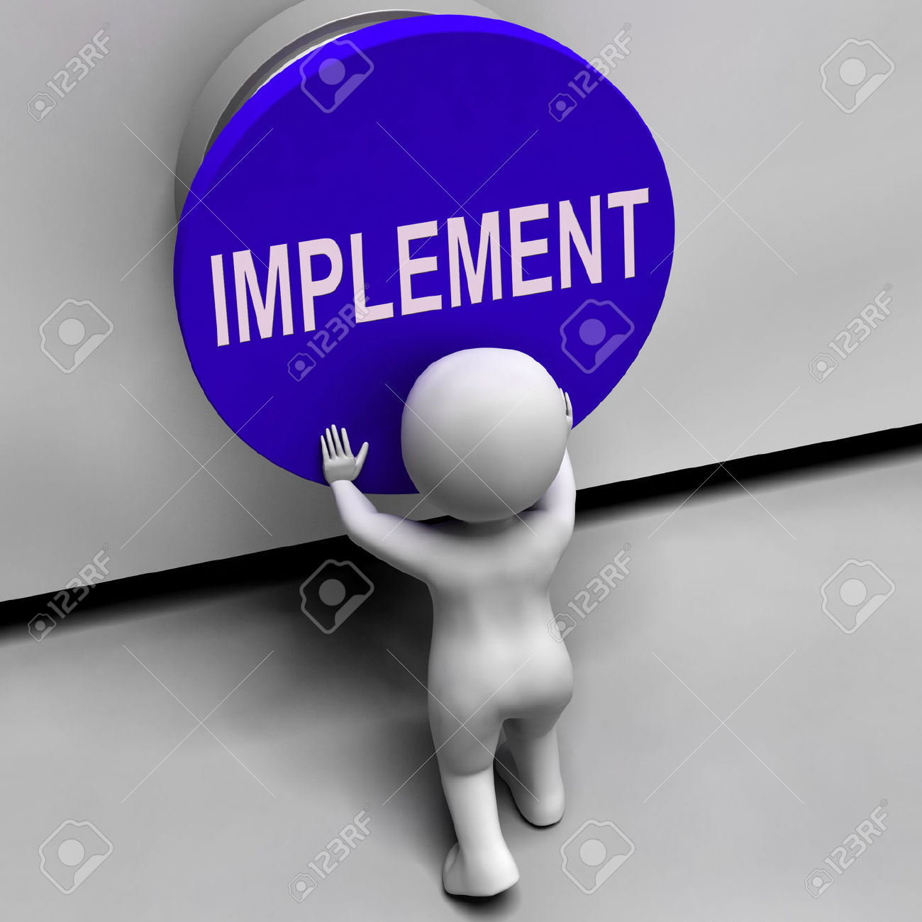 Implement Button Meaning Do Apply Or Execution Stock Photo.
