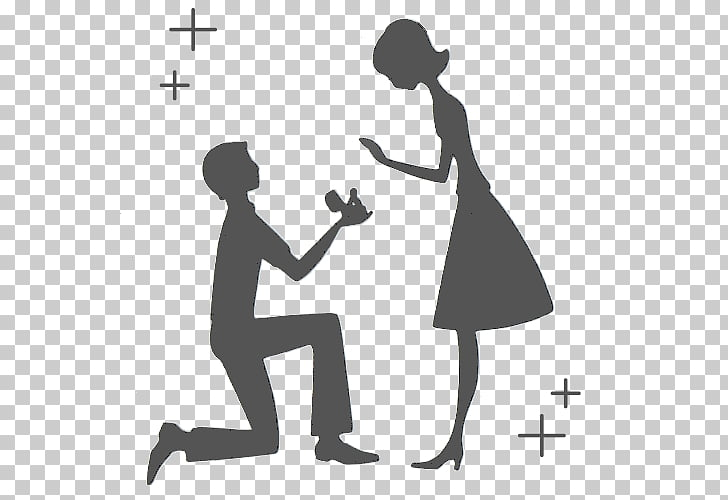 Marriage proposal Silhouette Engagement , Silhouette PNG.