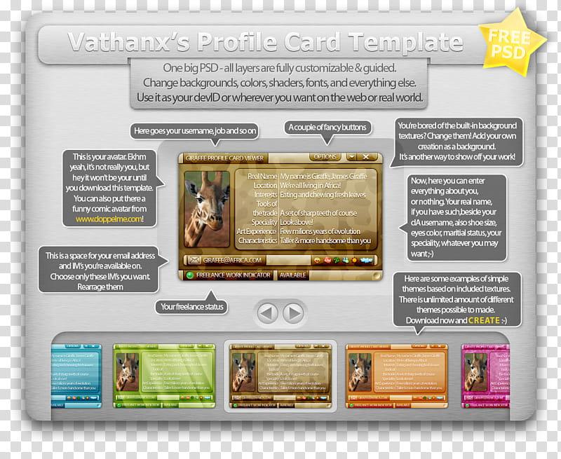Profile Card Template PSD, vathans text transparent.