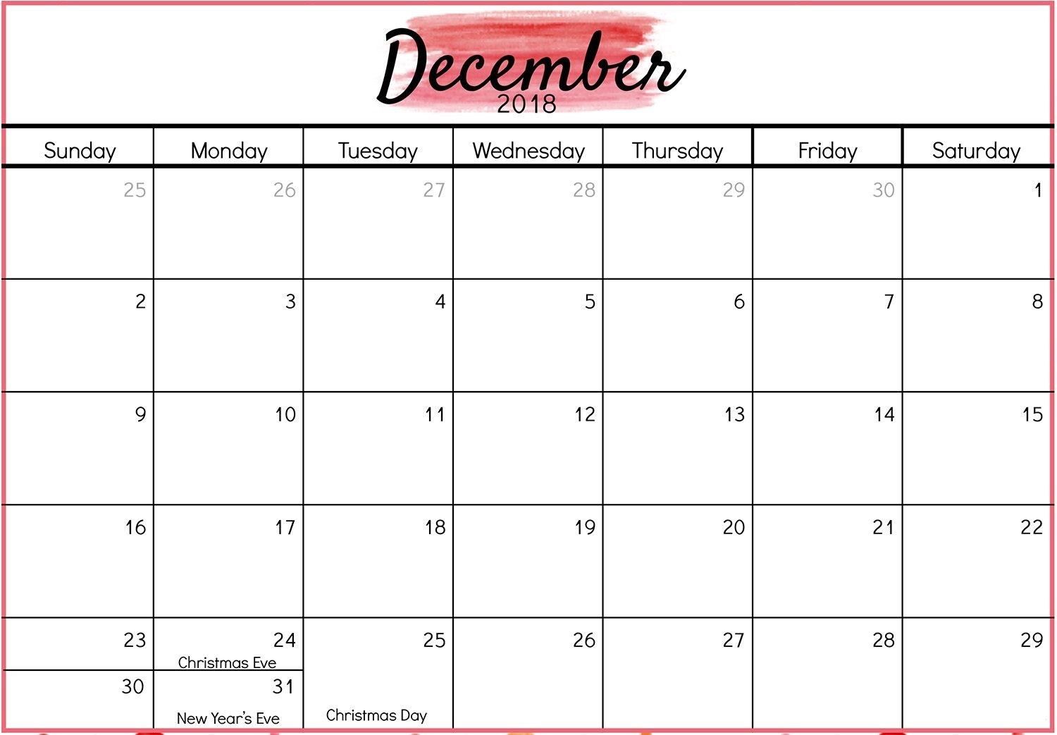 December 2018 Calendar Public and National Holidays.