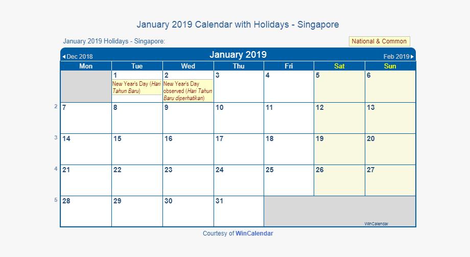 January 2019 Calendar Singapore With Holidays.
