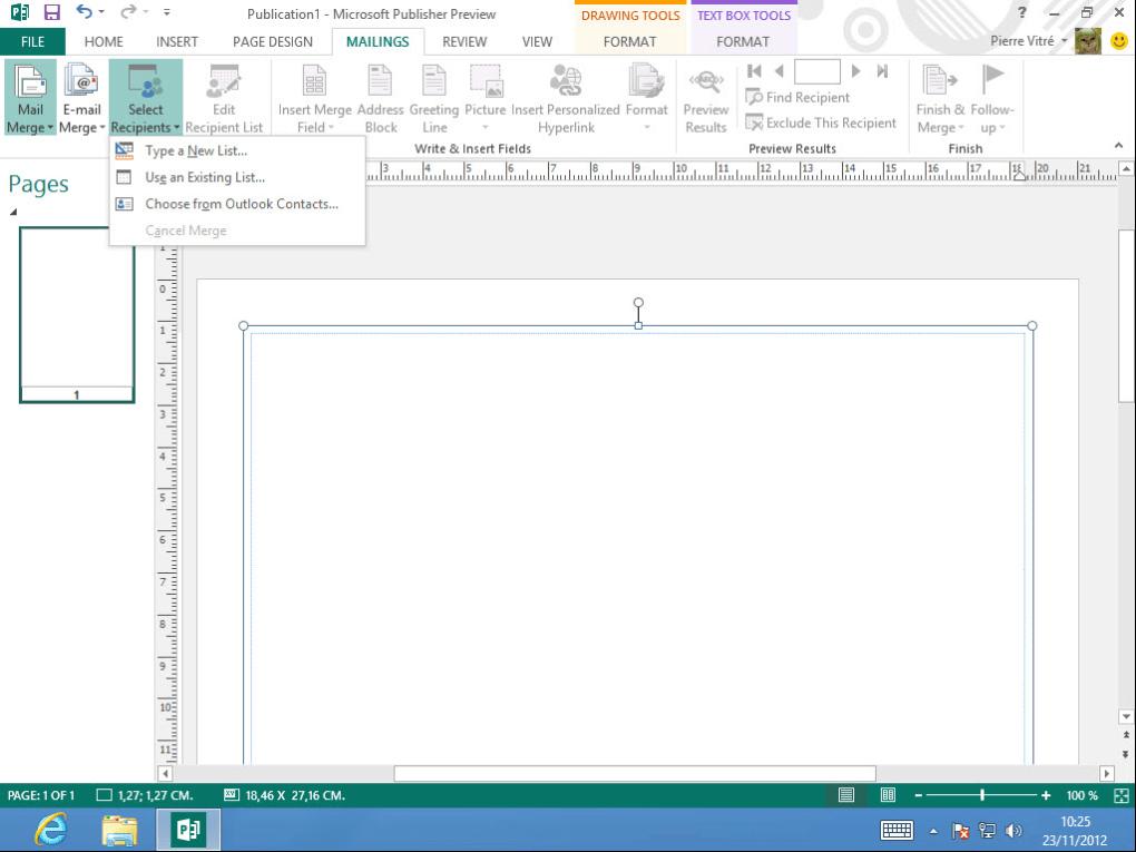 Microsoft Publisher 2013.