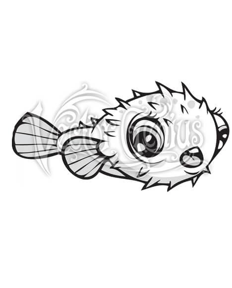 High Resolution Cute Cartoon Puffer Fish Clip Art Stock Art.