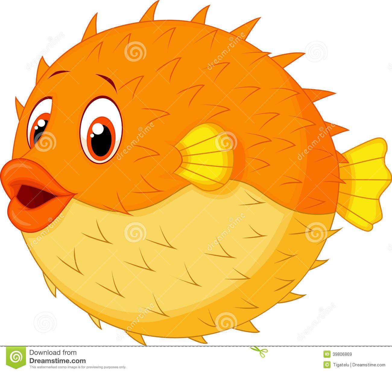 Illustration about Illustration of Cute puffer fish cartoon.