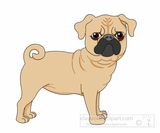 Pug dog curly tail clipart » Clipart Station.