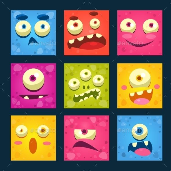 Cartoon Monster Faces Set.