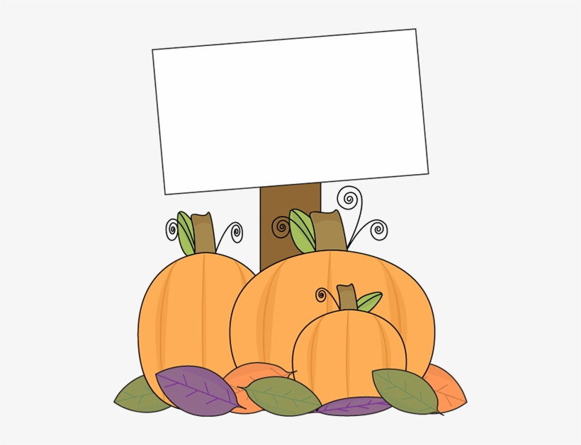 Pumpkin With A Blank Sign.