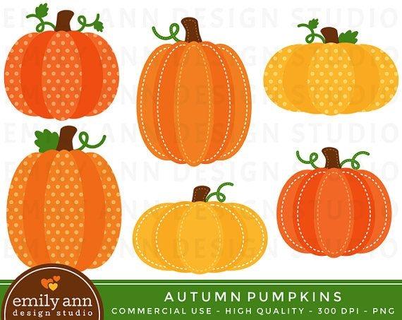 Polka Dot Pumpkin Clipart.