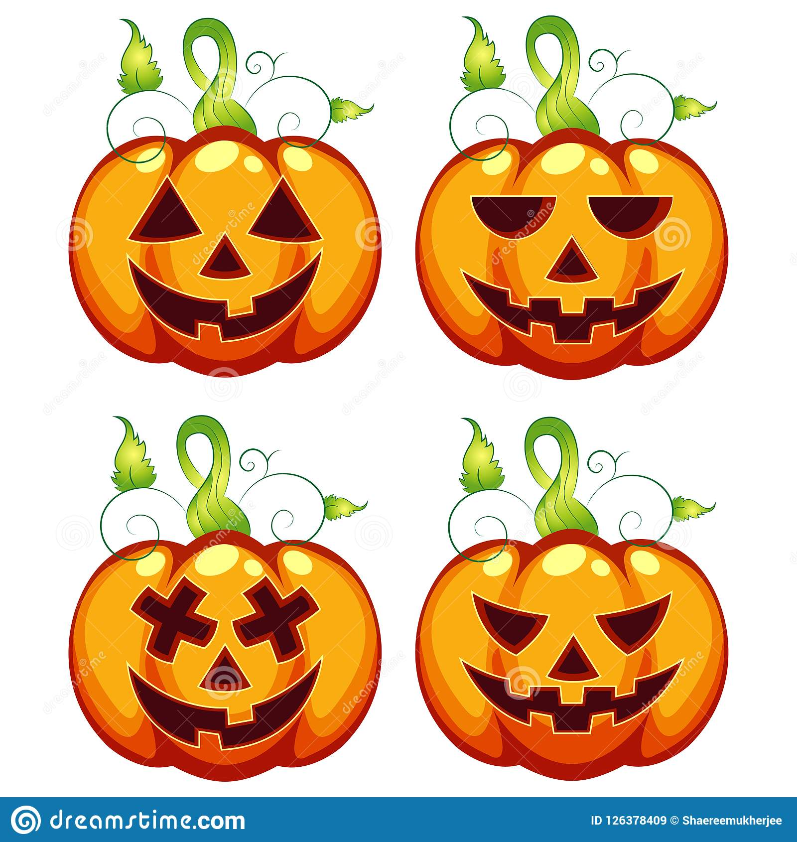 Vector Illustration Carved Halloween Pumpkin Expressions Set Stock.