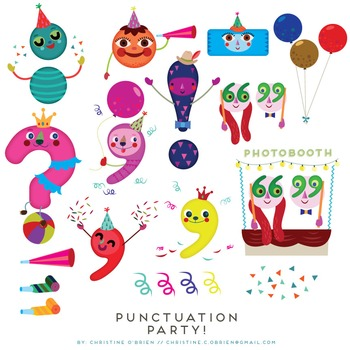 Punctuation Party! Punctuation Marks Clip Art Set.
