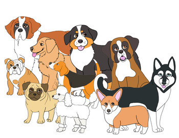 25 dog breeds + 3 puppies clipart.