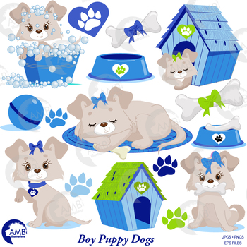 Dog Clipart, Puppy Clipart, Blue Animal Clipart, {Best Teacher Tools}  AMB.