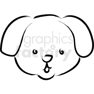puppy face drawing vector icon clipart. Royalty.
