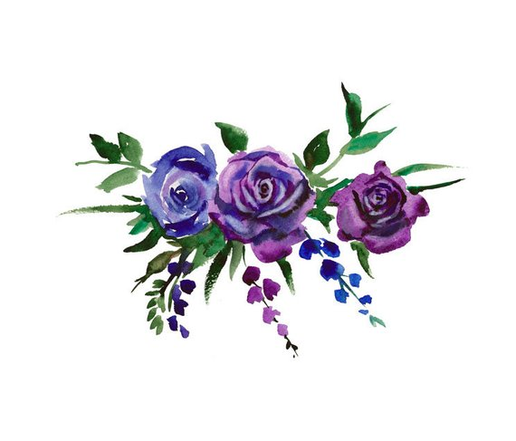 Watercolor Bouquet Flowers, Blue and Electric Purple.