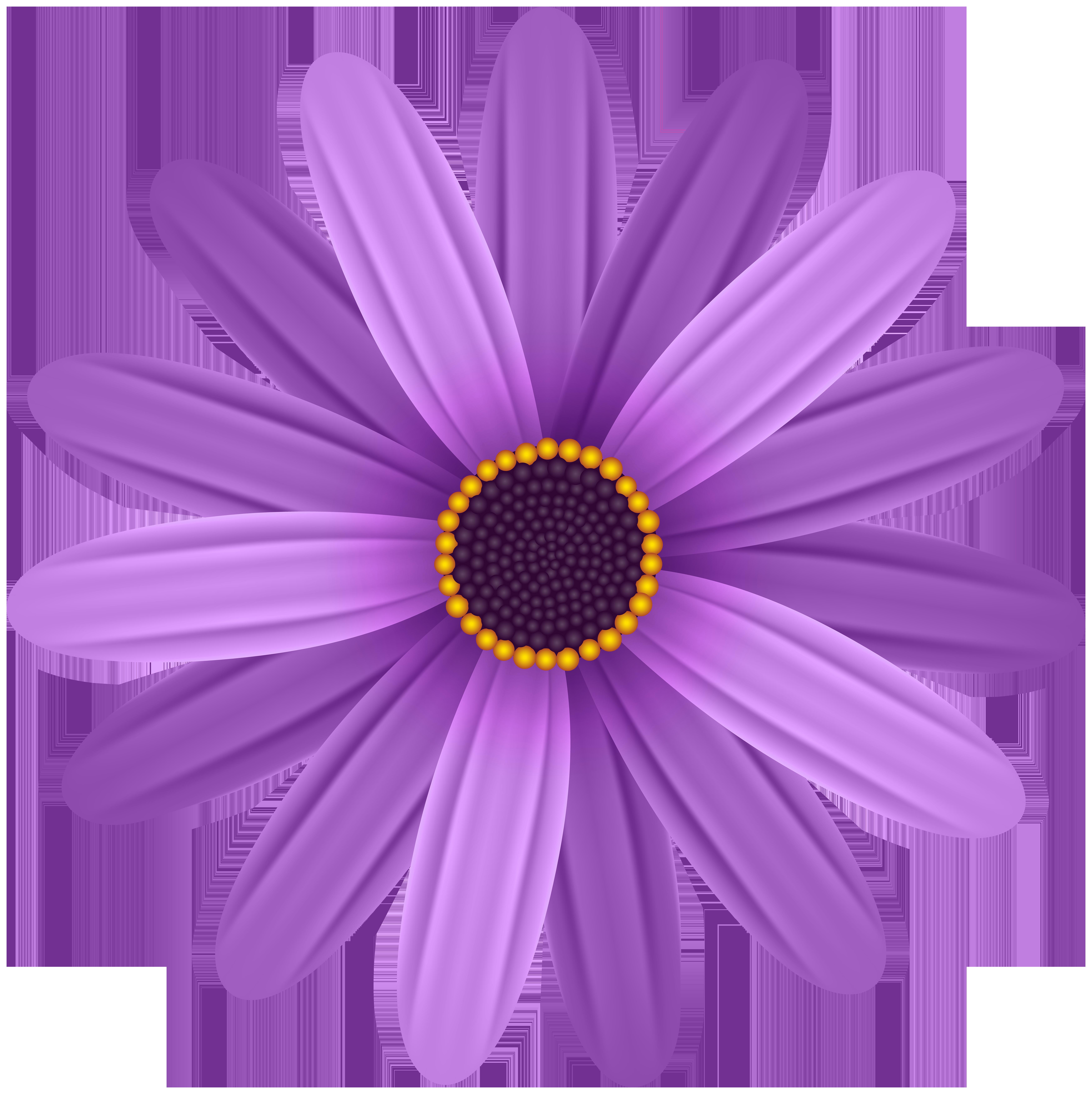 Purple Flower Transparent PNG Clip Art Image.