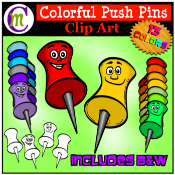 School Supplies Clip Art Push Pins CM.