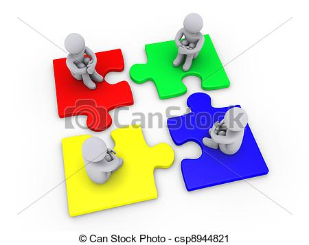 Clipart of Solution with four different puzzle pieces.
