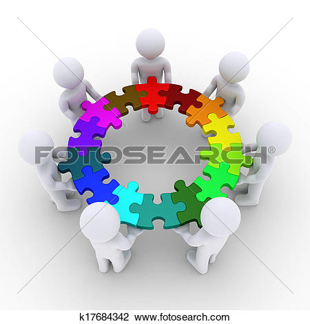 Clip Art of People holding puzzle pieces connected in a circle.