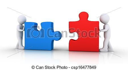 Drawing of Two people join the puzzle pieces.