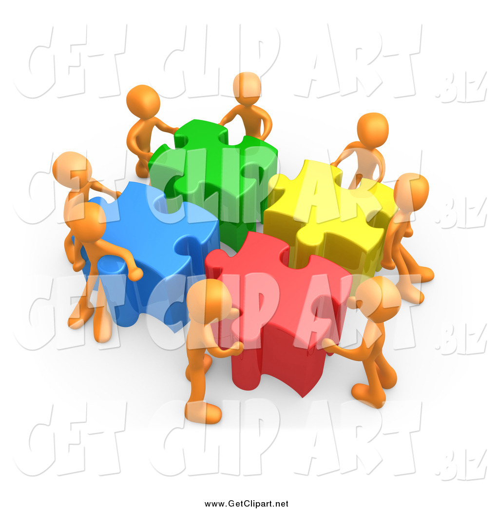 Clip Art of a 3d Team of Orange People Pushing Together Large.