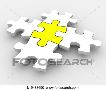 Puzzle Pieces Fitting Together One Central Integral Middle Part Clipart.