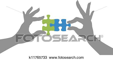 Hands puzzle pieces together solution Clipart.