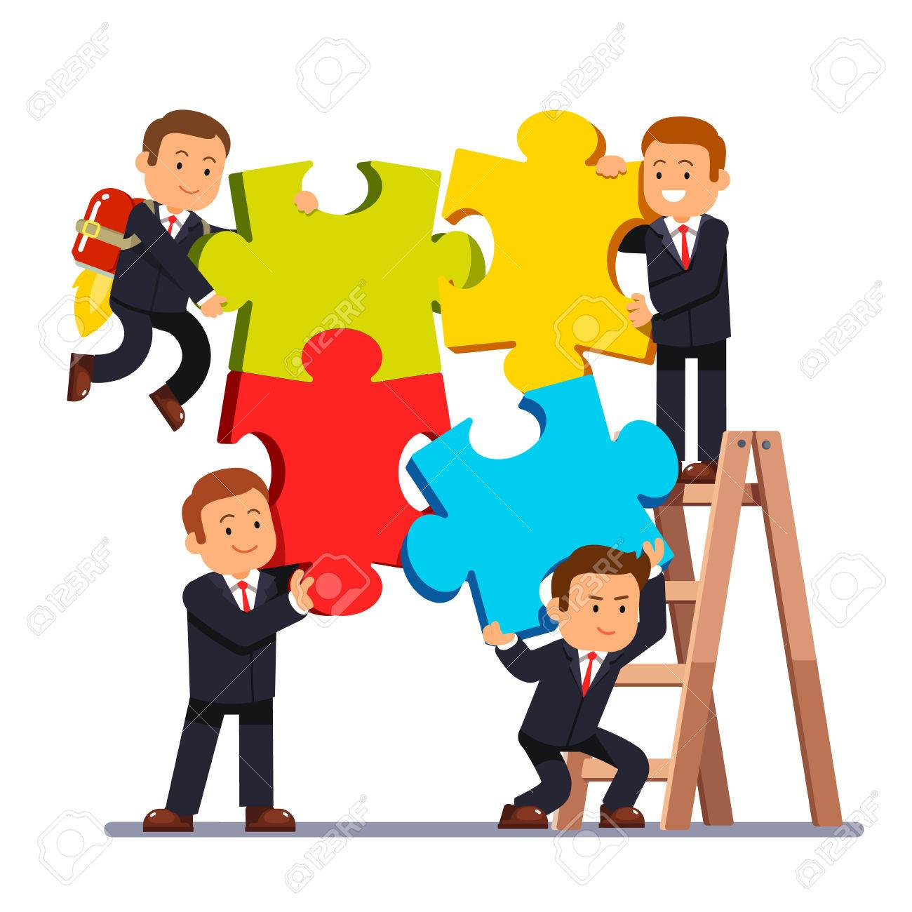Company business team joining huge jigsaw puzzle pieces together.