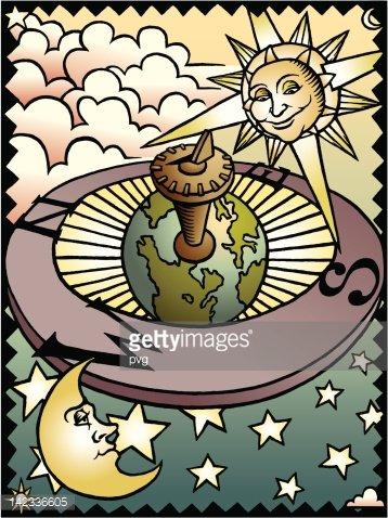 Celestial Sundial Clipart Image.