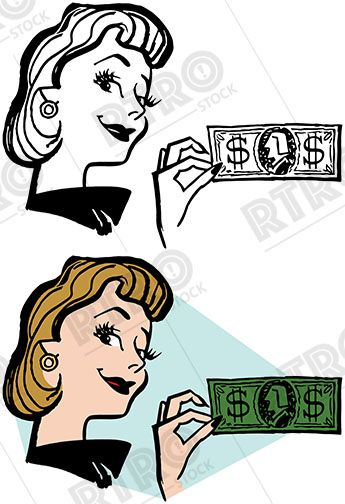 A smiling woman holds up a dollar bill vintage retro clipart.