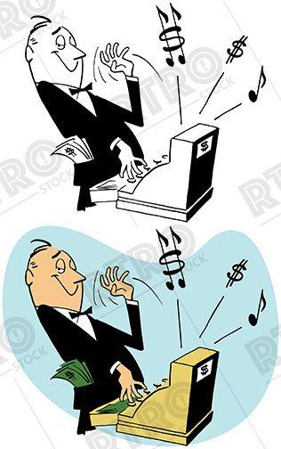 Man ringing a cash register vintage retro clip art clipart.