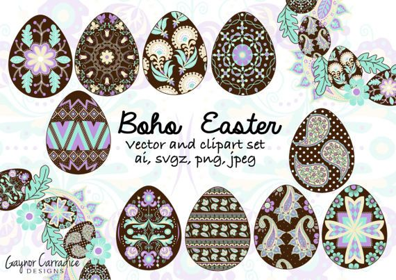 Easter clipart set, Easter vector set, Pysanky eggs clipart.