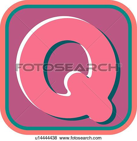 Clip Art of Blister letter Q u14444438.