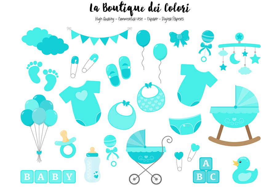 Turquoise New Baby Clipart.