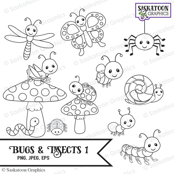 Bugs and Insects Digital Stamps Clipart.