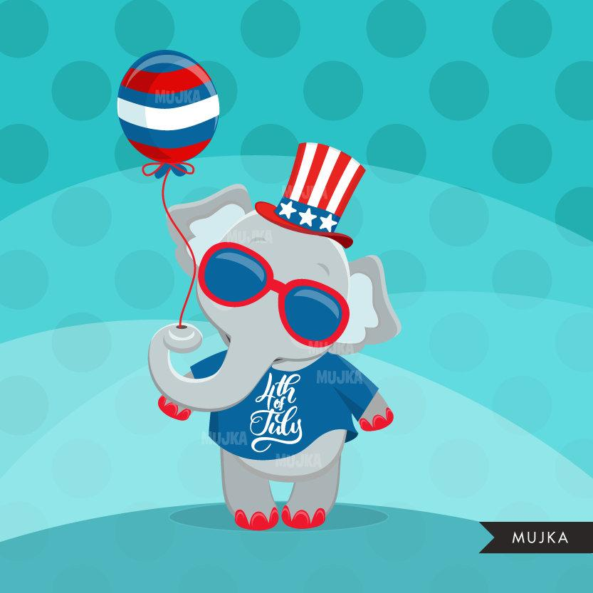 4th of July Animals Clipart. Sloth, turtle, elephant & Hedgehog.