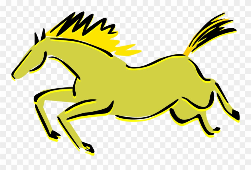 Vector Illustration Of Quadruped Equine Horse Cave.