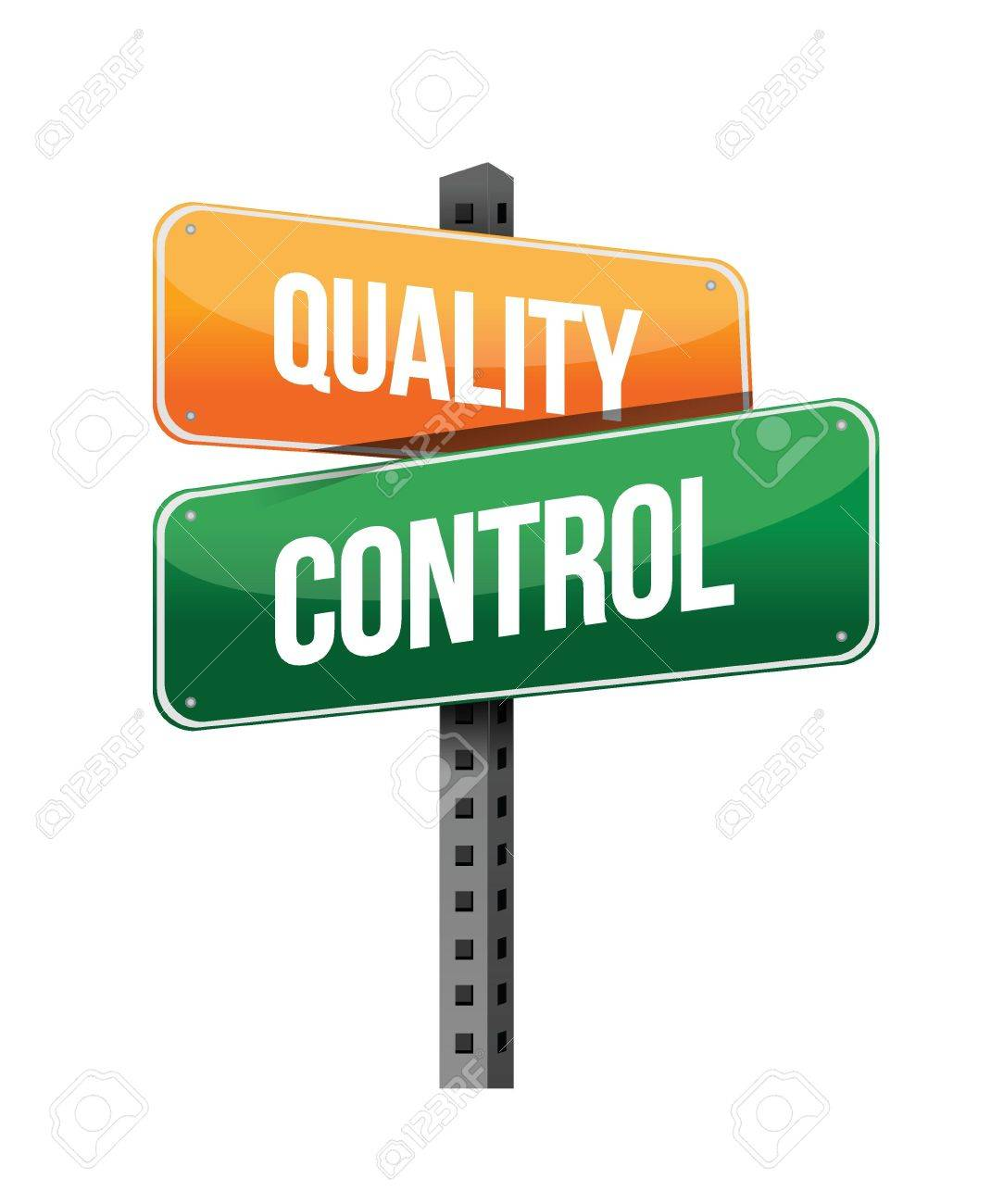 quality control sign illustration design over a white background.