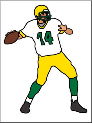 Clip Art: Football Quarterback Color I abcteach.com.